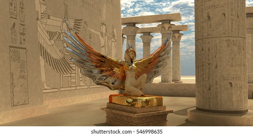 Egyptian God Isis 3D illustration - An Isis statue in the Temple of Isis which is part of the religion of ancient Egyptian civilization.