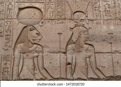 Egyptian goddesses Sekhmet and Hathor, Egypt