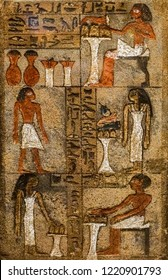 Egyptian hieroglyphs background. reliefs with workers in Egypt