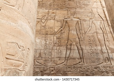 Egyptian Hieroglyphs in Luxor Temple, Luxor City, Egypt