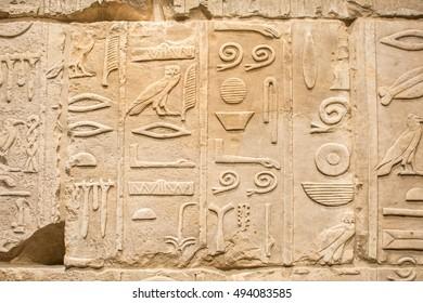 Egyptian hieroglyphs on the stone wall