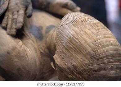 egyptian mummy head close up detail