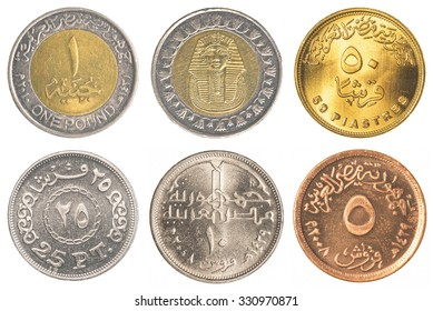 Egyptian pound coins collection isolated on white background - Shutterstock ID 330970871