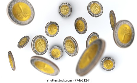Egyptian Pounds in Coins falling on white background