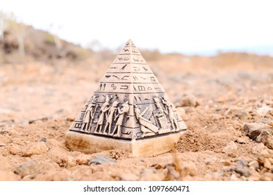Egyptian Pyramid Model Miniature in the Rock Desert