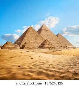 Egyptian pyramids in the desert of Giza. Egypt