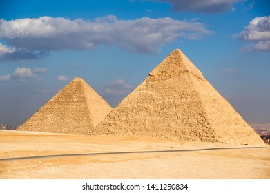 Egyptian pyramids in the rays of sunset
