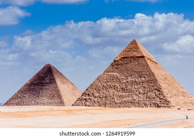 Egyptian pyramids scenery with blue sky