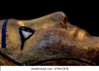 egyptian queen stone painted ancient sarcophagus close up detail