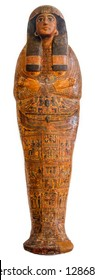 Egyptian sarcophagus isolated over a white background