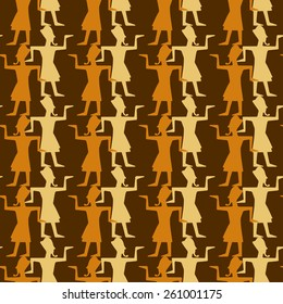Egyptian seamless pattern with pharaohs. Egypt hieroglyphs. Tribal art repeating background texture. Cloth design. Wallpaper