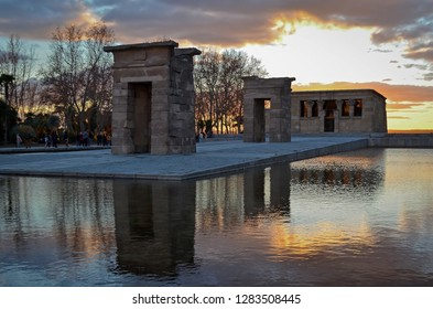 Egyptian Temple of Debod at Sunset in Madrid, Spain