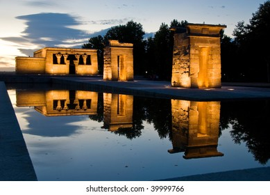 egyptian temple at evening