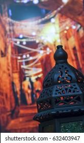 Egyptian Vintage metal lantern on bokeh light