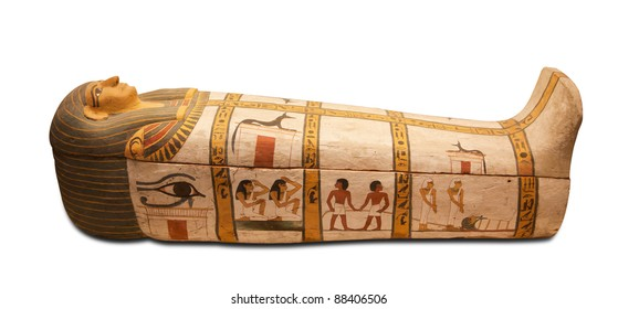 Egyptians sarcophagus isolated with clipping path