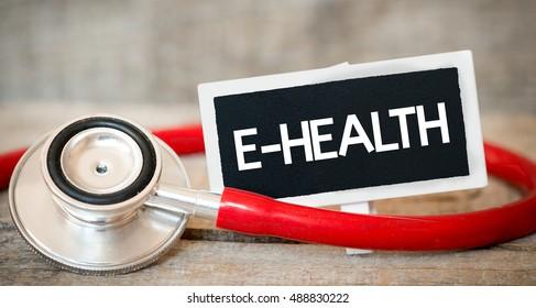 E-health / Blackboard with word e-health and stethoscope. Medicine concept.