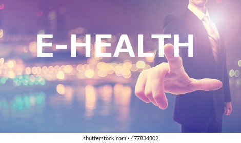 Ehealth concept with businessman on blurred city background