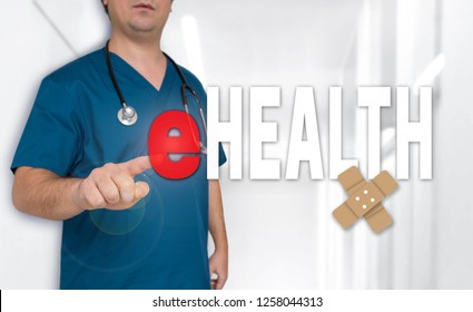 eHealth concept and doctor with surgical gown.
