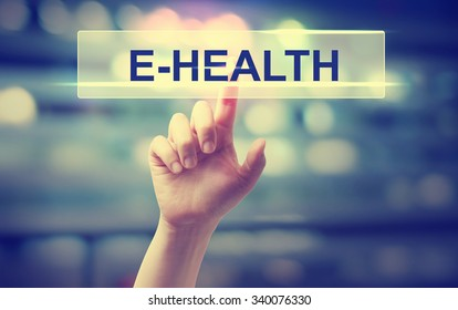 E-Health concept with hand pressing a button on blurred abstract background