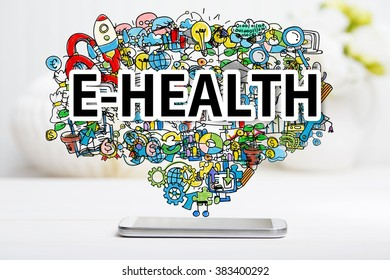 E-Health concept with smartphone on white table