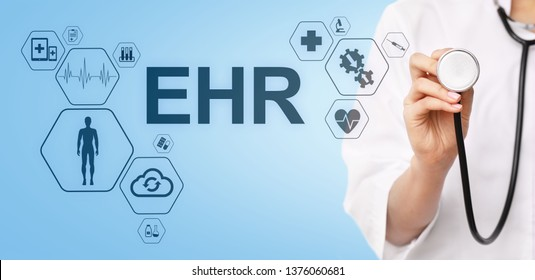 EHR Electronic Health record EMR Medical automation system Medicine Internet concept. Doctor with stethoscope.