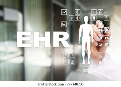 EHR, EMR, Electronic health record. Medical and technology concept.