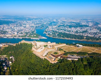 Ehrenbreitstein Fortress aerial panoramic view in Koblenz. Koblenz is city on Rhine, joined by Moselle river.
