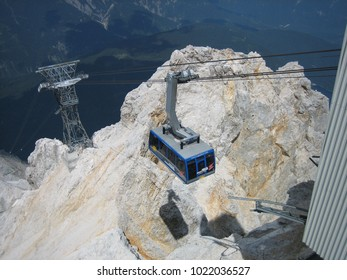 Ehrwald, Austria. July 2006. Cable car to the Zugspitze mountain summit. The Zugspitze is the highest mountain peak in Germany.