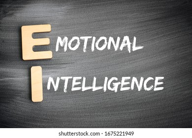 EI - Emotional Intelligence acronym, business concept on blackboard - Shutterstock ID 1675221949