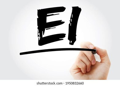 EI - Emotional Intelligence acronym with marker, business concept background - Shutterstock ID 1950832660