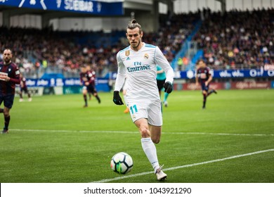 EIBAR, SPAIN - MARCH 10, 2018: Gareth Bale, Real Madrid player, in action during a Spanish League match between Eibar and Real Madrid