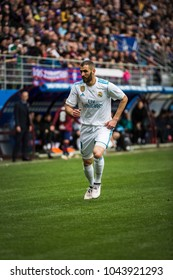 EIBAR, SPAIN - MARCH 10, 2018: Karim Benzema, Real Madrid player, in action during a Spanish League match between Eibar and Real Madrid