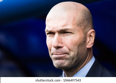 EIBAR, SPAIN - MARCH 10, 2018: Zinedine Zidane, Real Madrid coach, in action during a Spanish League match between Eibar and Real Madrid
