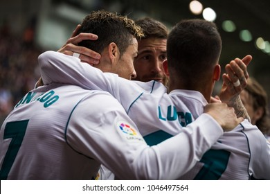 EIBAR, SPAIN - MARCH 10, 2018: Cristiano Ronaldo, CR7, Sergio Ramos and Lucas Vazquez Real Madrid players, celebrated a goal during a Spanish League match between Eibar and Real Madrid