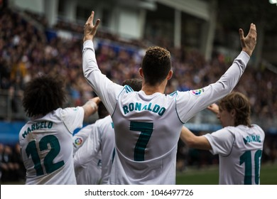 EIBAR, SPAIN - MARCH 10, 2018: Cristiano Ronaldo, CR7, Real Madrid player, in action during a Spanish League match between Eibar and Real Madrid