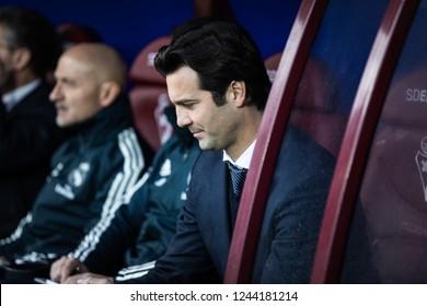 EIBAR, SPAIN - NOVEMBER 24, 2018: Santiago Solari, Real Madrid coach during the La Liga match between Eibar and Real Madrid CF at Ipurua Stadium on November 24, 2018 in Eibar, Spain
