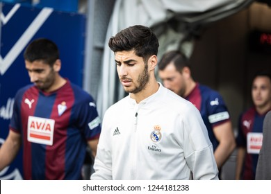 EIBAR, SPAIN - NOVEMBER 24, 2018: Marco Asensio, Real Madrid player leaves through the dressing room tunnel before La Liga match between Eibar and Real Madrid CF at Ipurua Stadium