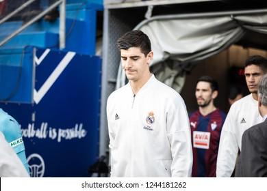 EIBAR, SPAIN - NOVEMBER 24, 2018: Thibaut Courtois, Real Madrid goalkeeper leaves through the dressing room tunnel before La Liga match between Eibar and Real Madrid CF at Ipurua Stadium