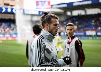 EIBAR, SPAIN - NOVEMBER 24, 2018: Gareth Bale, Real Madrid player in the preheating before the La Liga match between Eibar and Real Madrid CF at Ipurua Stadium on November 24, 2018 in Eibar, Spain