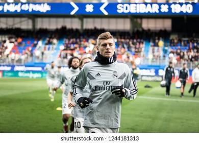 EIBAR, SPAIN - NOVEMBER 24, 2018: Toni Kroos, Real Madrid player in the preheating before the La Liga match between Eibar and Real Madrid CF at Ipurua Stadium on November 24, 2018 in Eibar, Spain