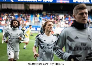 EIBAR, SPAIN - NOVEMBER 24, 2018: Luka Modric, Real Madrid player in the preheating before the La Liga match between Eibar and Real Madrid CF at Ipurua Stadium on November 24, 2018 in Eibar, Spain