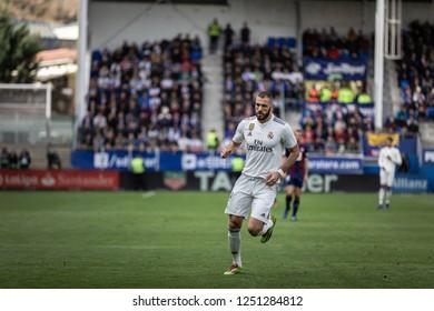 EIBAR, SPAIN - NOVEMBER 24, 2018: Karim Benzema, Real Madrid player, in action during the La Liga match between Eibar and Real Madrid CF at Ipurua Stadium on November 24, 2018 in Eibar, Spain