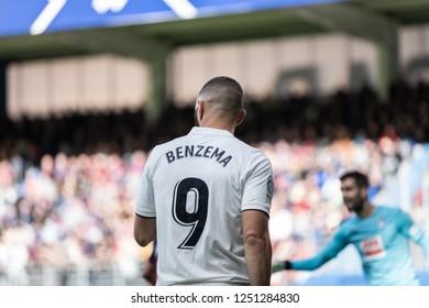 EIBAR, SPAIN - NOVEMBER 24, 2018: Karim Benzema, Real Madrid player in action during the La Liga match between Eibar and Real Madrid CF at Ipurua Stadium on November 24, 2018 in Eibar, Spain