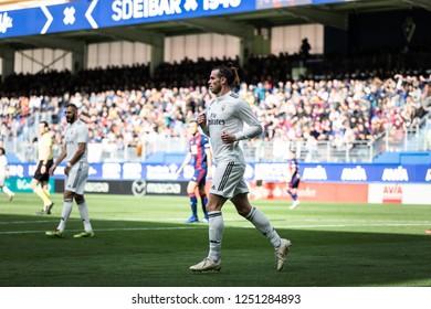 EIBAR, SPAIN - NOVEMBER 24, 2018: Gareth Bale, Real Madrid player in action during the La Liga match between Eibar and Real Madrid CF at Ipurua Stadium on November 24, 2018 in Eibar, Spain