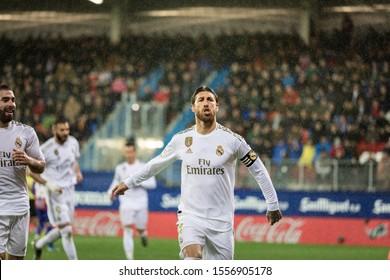 EIBAR, SPAIN - NOVEMBER 9, 2019: Sergio Ramos, Real Madrid player, celebrates his goal in a Spanish League match between Eibar and Real Madrid at Ipurua Stadium