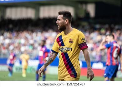EIBAR, SPAIN - OCTOBRER 19, 2019: Lionel Messi, Leo, Barcelona player, in action during a Spanish League match between Eibar and FC Barcelona at Ipurua Stadium on October 19, 2019 in Eibar, Spain