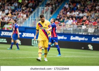 EIBAR, SPAIN - OCTOBRER 19, 2019: Lionel Messi, Barcelona player, crestfallen during a Spanish League match between Eibar and FC Barcelona at Ipurua Stadium