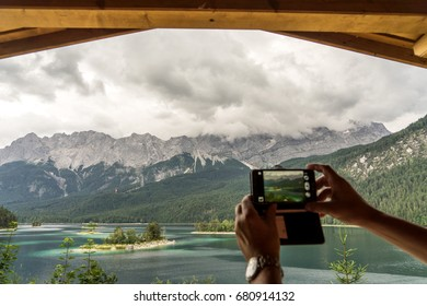 Eibsee with the highest mountain Zugspitze in Germany,Bavarian Alps