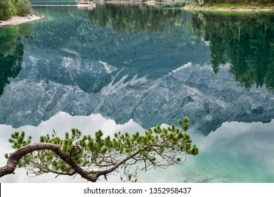 Eibsee lake in front of Zugspitze mountain in Bavaria Germany. Gorgeous view. Alpine landscape with German Alps mountain Zugspitze