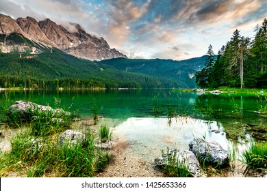 Eibsee Zugspitze near Grainau, Bavaria, Germany